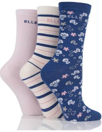 4 Sizes Available 6 Pairs Girls Designer Elle Trainer Socks Royal Blue