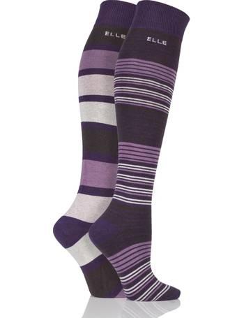 4c8b7e992 Ladies 2 Pair Elle Striped Cotton Knee High Socks from Sock Shop
