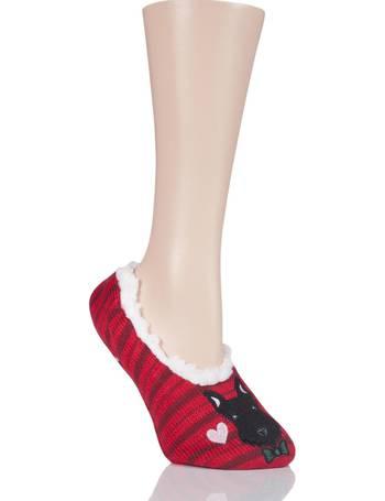 Ladies 1 Pair SockShop SnugSoles Bootie Slippers with Grip