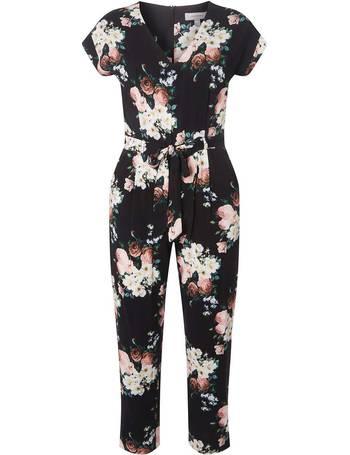 da0d9ed32ac Womens Petite Black Floral Print Jumpsuit- Pink from Dorothy Perkins
