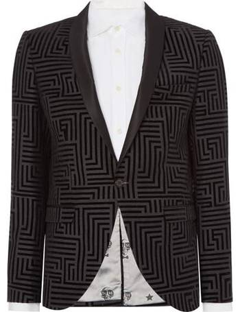 2c688b526 Men s Noose and Monkey Shawl Collar Geometric Print Flocking Blazer from  House Of Fraser