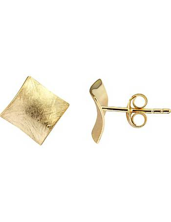 6f54fcb7c 9ct Yellow Gold Satin Finish Square Stud Earrings from John Lewis