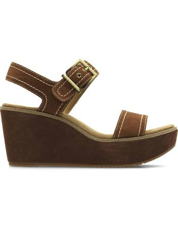 1a27f8175aa109 Clarks. Aisley Orchid Leather Wedge Sandals. from La Redoute