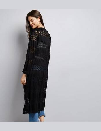 b86f3707037d Cameo Rose. Black Crochet Lace Maxi Kimono New Look