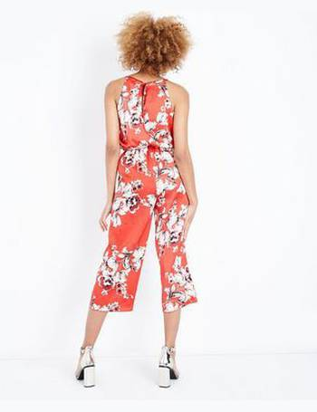 b9bab4f5ba78 Cameo Rose. Red Floral Satin High Neck Jumpsuit New Look