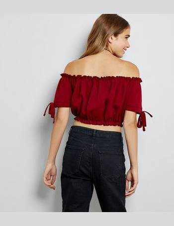 a083544370ccd Cameo Rose. Burgundy Bardot Neckline Crop Top New Look