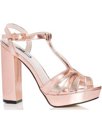 170bade4632a Rose Gold Peep Toe Block Heel Sandals from Quiz Clothing