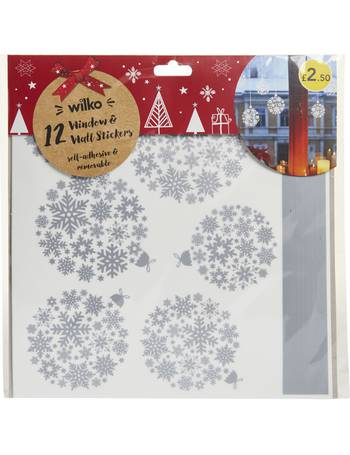 Christmas window and wall sticker bauble silver from wilko