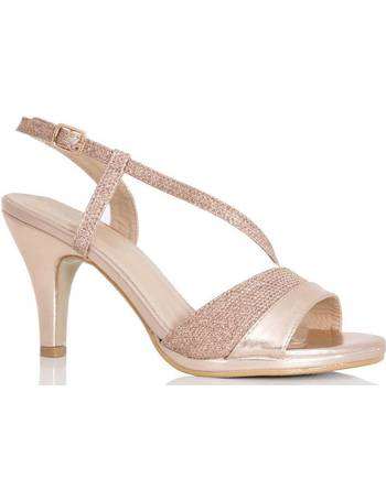 2be673714306 Rose Gold Shimmer Strappy Low Heel Sandal from Quiz Clothing