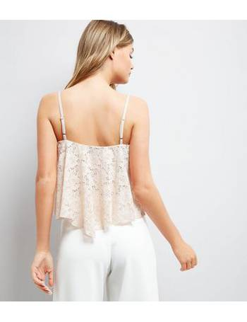 b7a3ea1cac1023 Shell Pink Lace Hanky Hem Crop Top New Look from New Look