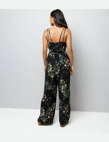 250fdc0c81 Petite Black Floral Print Wide Leg Jumpsuit New Look from New Look