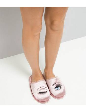 328c4613262c Pink Fluffy Eye Embroidered Mule Slippers New Look from New Look