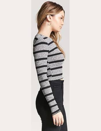 6dd52bf330591 Shop Women s Forever 21 Stripe Crop Tops up to 80% Off
