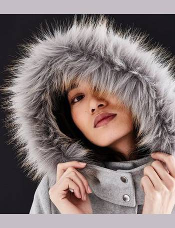 f10f25c0d17b Pale Grey Faux Fur Trim Hooded Duffle Coat New Look from New Look