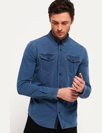 db7afbea02c Shop Men s Superdry Denim Shirts up to 45% Off