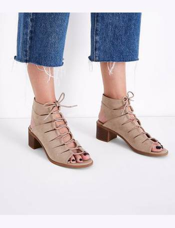 20e1bc78325a Light Brown Suedette Low Block Heel Ghillie Sandals New Look from New Look