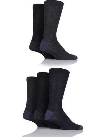 e9721564a Mens 5 Pair SockShop Contrast Heel and Toe Bamboo Socks from Sock Shop