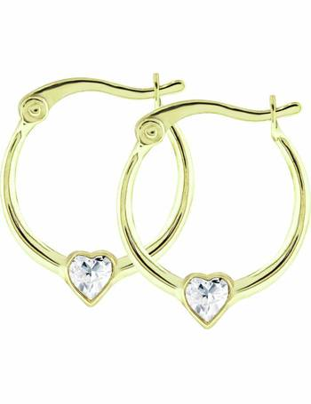 8860d54d5 Revere Kid's 9ct Gold Cubic Zirconia Heart Creole Earrings from Argos
