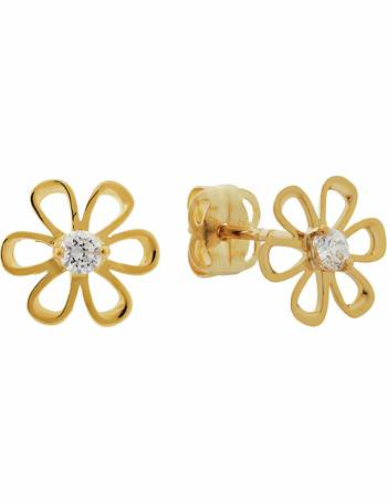 7ed3e8453 Revere Kid's 9ct Gold Cubic Zirconia Flower Stud Earrings from Argos