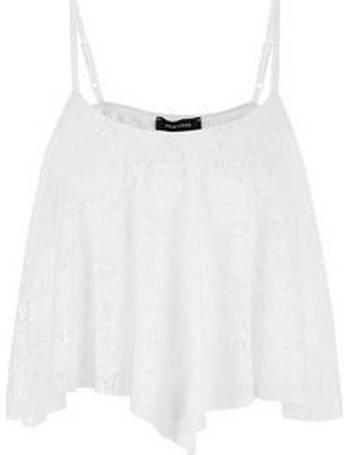 468fa7ca4fb5de Cream Lace Hanky Hem Crop Top New Look from New Look