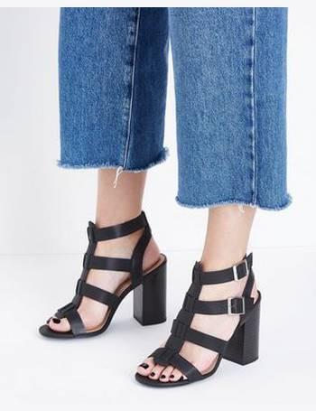 d7b96b90615 Black Wooden Block Heel Gladiator Sandals New Look from New Look
