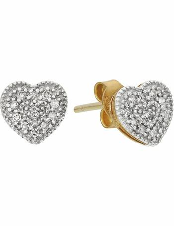 a9c2cd101 Argos. Revere 9ct Gold 0.10ct tw Diamond Heart Stud Earrings