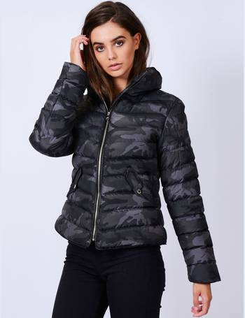 2a656a1243520 Ewok Funnel Neck Quilted Camo Jacket in Grey   Black Camo – Tokyo Laundry