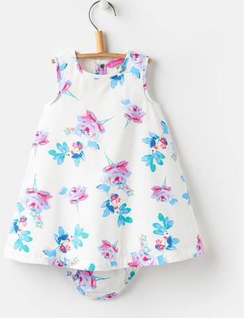 Joules Baby Bunty Woven Dress And Knicker Set in YELLOW GINGHAM FLORAL