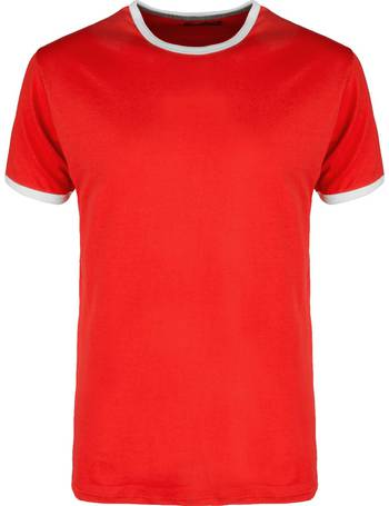 5edb7044a12 TallonC Ringer Short Sleeve Cotton T-shirt in Red from Tokyo Laundry