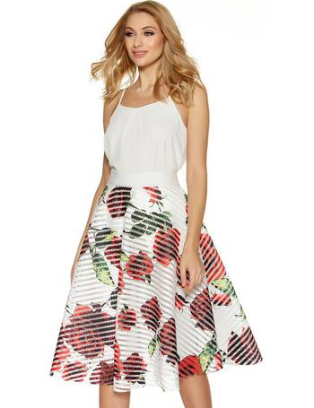 288f3f058fb White Red And Green Floral Print Skater Skirt from Quiz Clothing