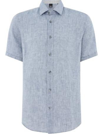 463246e57 Men's Hugo Boss Luka 1 Regular Fit Short Sleeve Linen Shirt from House Of  Fraser