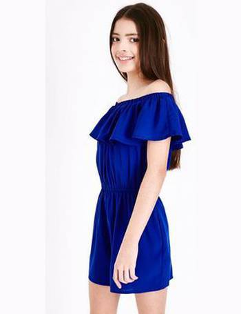 1f7aad58850 Teens Bright Blue Frill Trim Bardot Neck Playsuit New Look from New Look