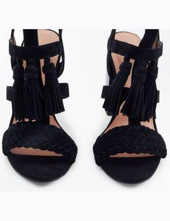 02fbc11c47c Black Suede Tassel Gladiator Block Heels New Look from New Look