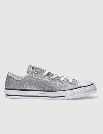 d7e76eaa9fdb Converse. Silver All Star Ox Glitter Girls Youth Trainers. from Schuh