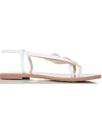 ac930e86e White Diamante Leaf Strap Sandal from Quiz Clothing