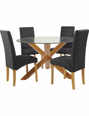 13651af853 Heart of House Oakington Round Glass Table & 4 Chairs-Black from Argos