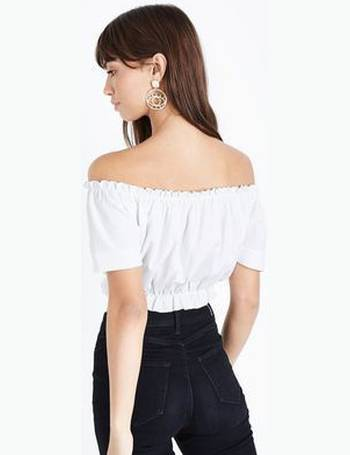 91c307347599d Cameo Rose. Cream Frill Bardot Neck Crop Top New Look