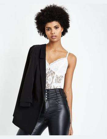 Off White Sweetheart Neck Lace Party Bodysuit New Look from New Look 50265a5c7