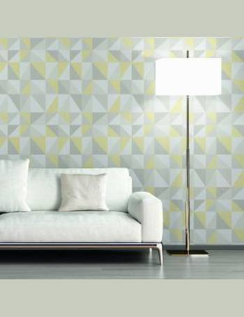 . Life 4 Grey   yellow Geometric triangles Glitter Wallpaper