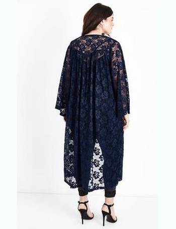 8026b88a8fd7 Curves Navy Floral Lace Longline Kimono New Look from New Look