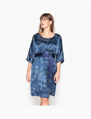 c2a907dd21 CASTALUNA PLUS SIZE. Satin Look Floral Print Dress with Tie Waist