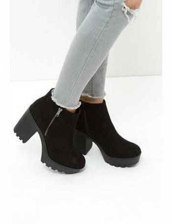 82578aa4d9bd Black Suedette Chunky Block Heel Ankle Boots New Look from New Look