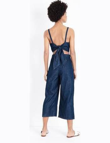 72dbeada7b0 Blue Tie Back Lightweight Denim Jumpsuit New Look from New Look