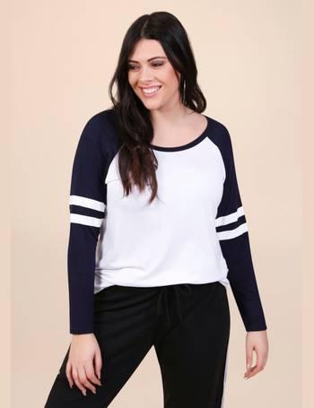 d2735992fb33e Francisca Double Stripe Raglan White   Navy T-Shirt from Pink Clove