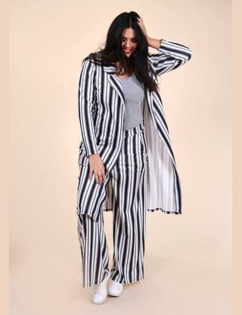 d3fa5562a4036 Plus Courtney Longline Blazer in Black and White Stripe from Pink Clove