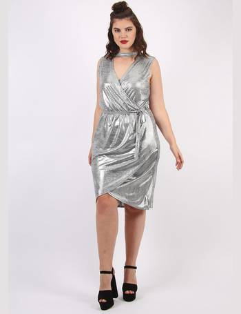 aeaa0c207e451 Plus Size Maya Wrap Dress with Choker Detail in Silver from Pink Clove