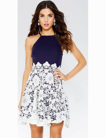 Navy And Cream Lace Skater Dress from Quiz Clothing 1689fb913