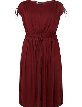 1e8cf40e074 Womens Dp Curve Burgundy Jersey Midi Skater Dress- Red from Dorothy Perkins