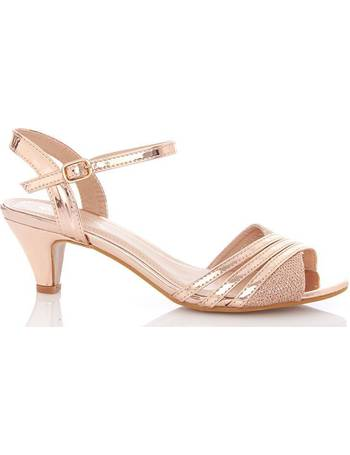 2145fde3ae0 Rose Gold Metallic Strap Low Heel Sandal from Quiz Clothing