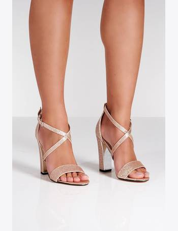 66326ddd4070 Rose Gold Glitter Block Heel Strappy Sandals from Quiz Clothing